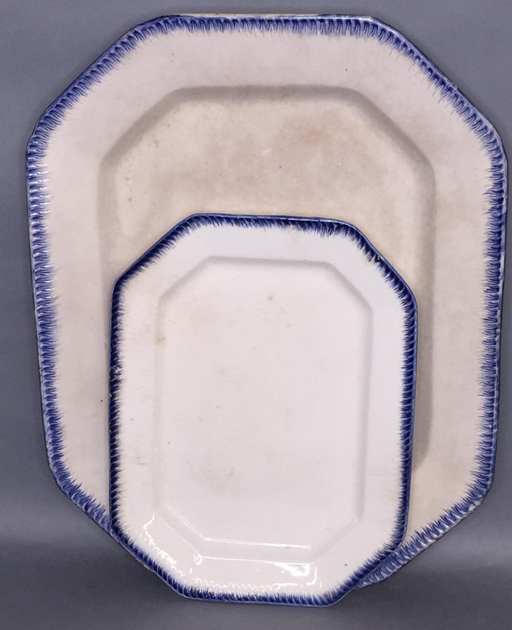 2 oblong octagonal blue shell edge platters