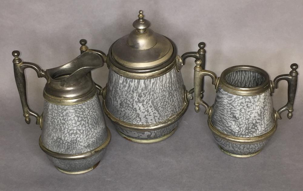 3 piece pewter trimmed gray agate tea set