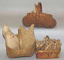 3 contemporary baskets with contents