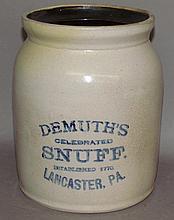 Demuth's stoneware snuff jar