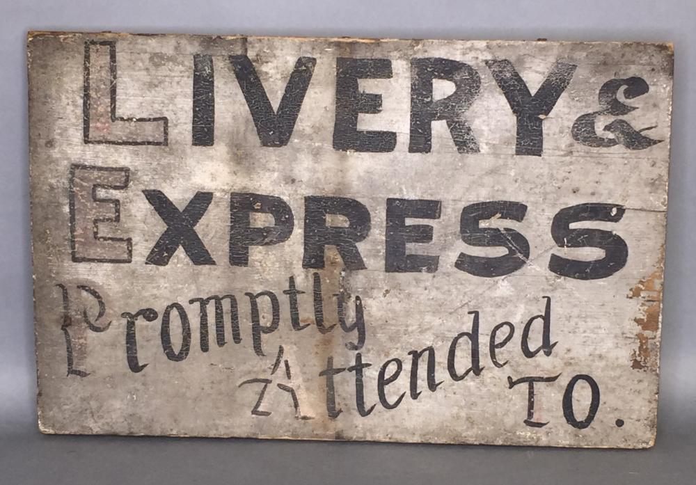 """Painted wooden """"Livery & Express"""" trade sign"""