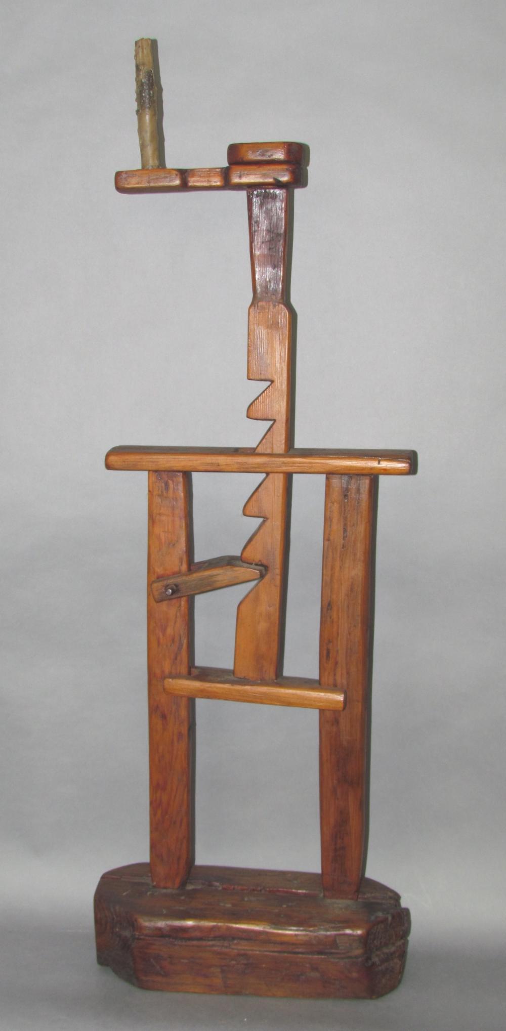 Primitive wooden adjustable candlestand