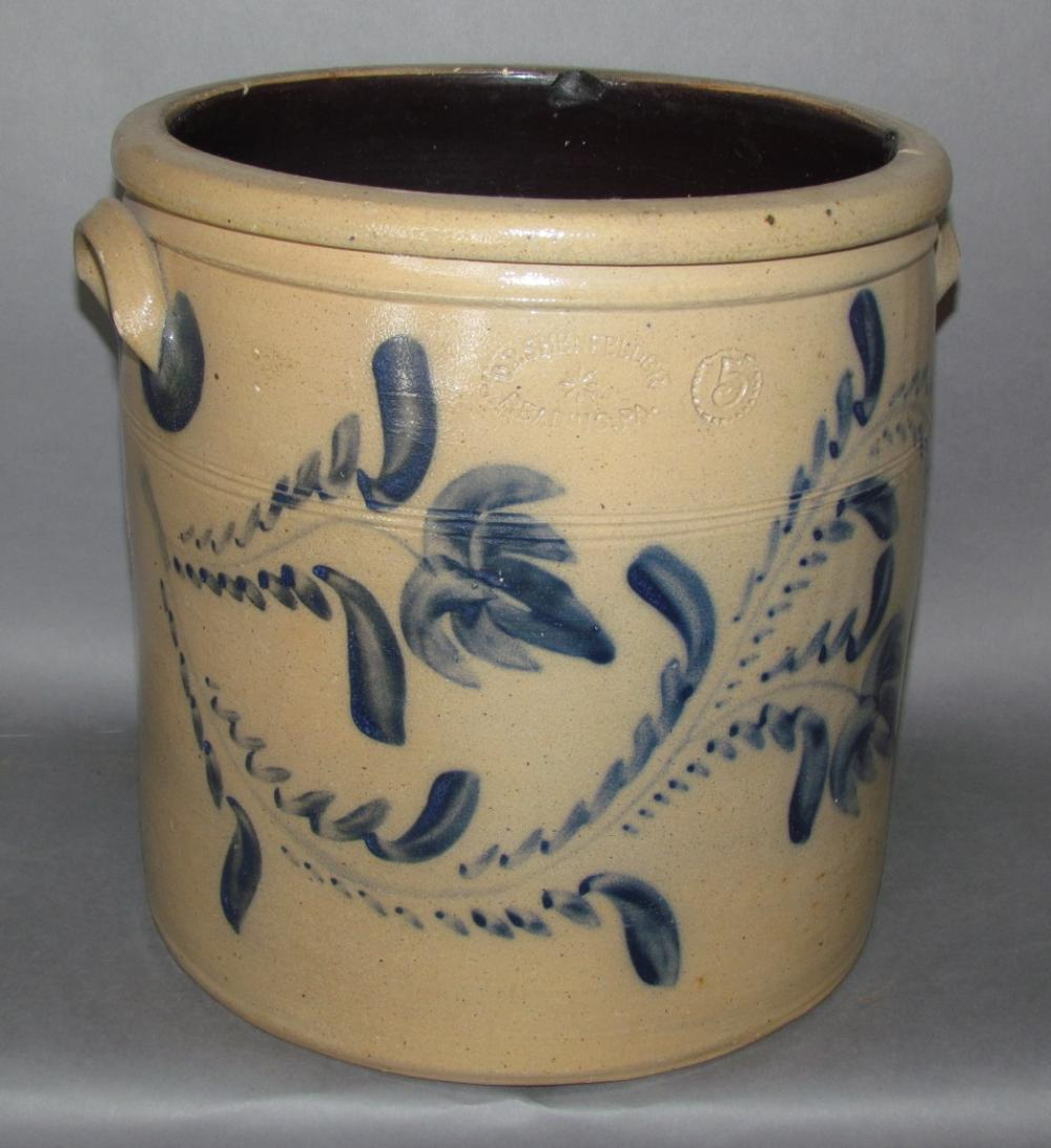 5 gallon cobalt decorated Shenfelder stoneware crock