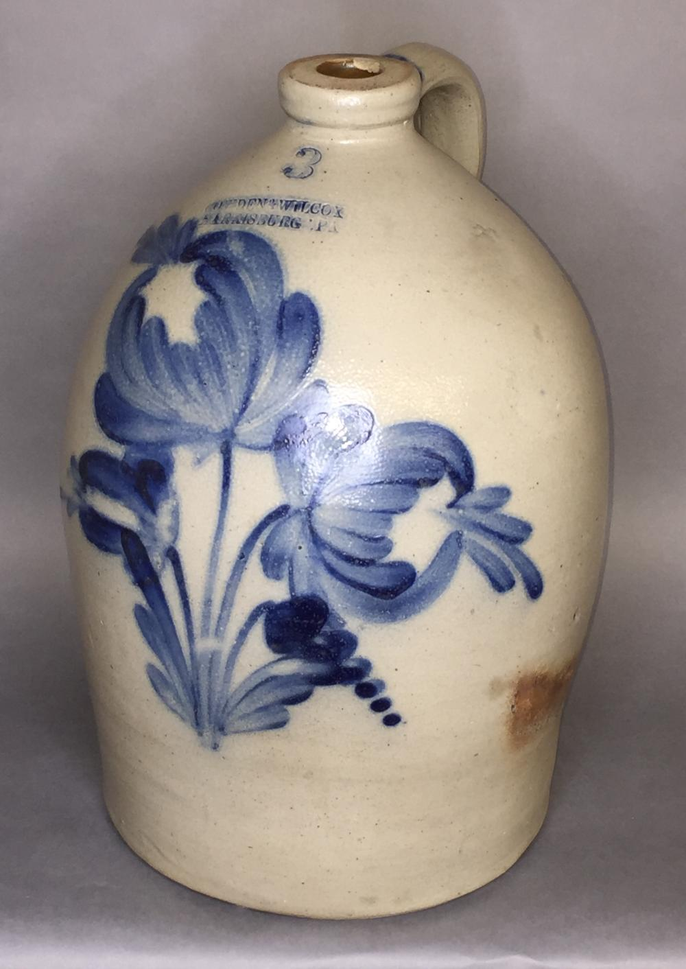 Fine 3 gallon cobalt decorated Cowden & Wilcox stoneware jug