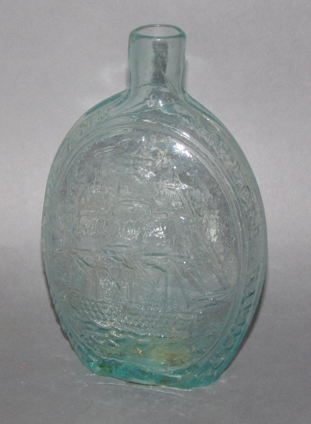 Molded pint Ship & Farmer's Arms glass flask