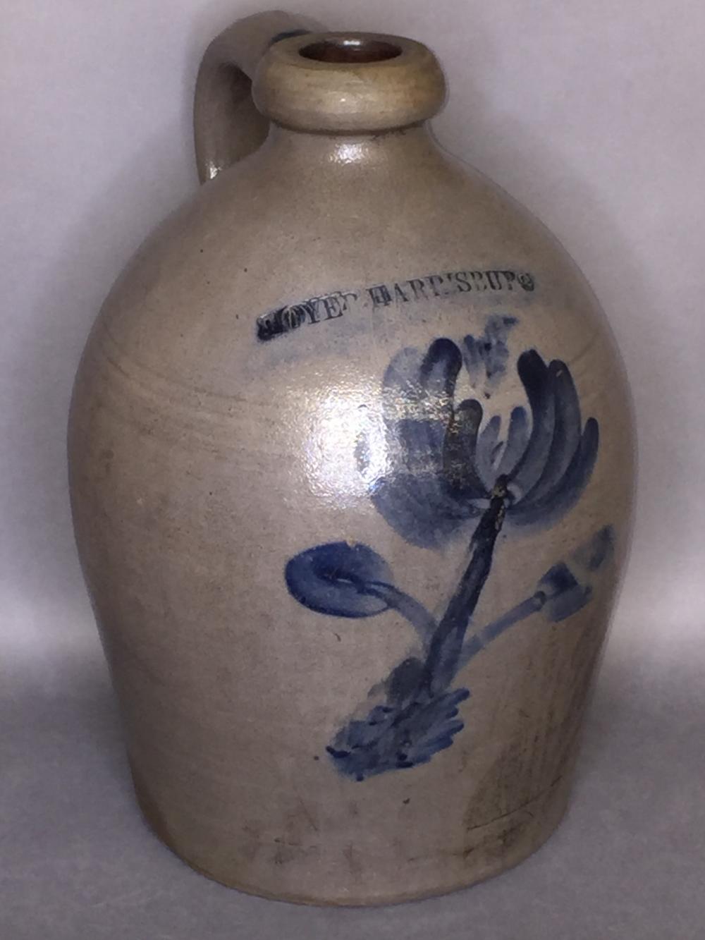 Cobalt decorated Moyer, Harrisburg stoneware jug