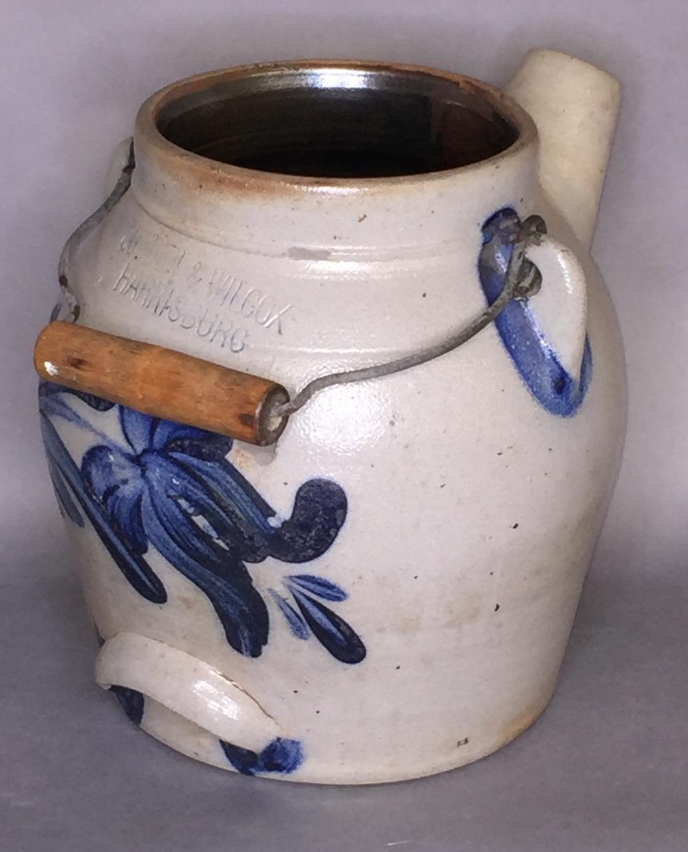 Cobalt decorated Cowden & Wilcox stoneware batter jug