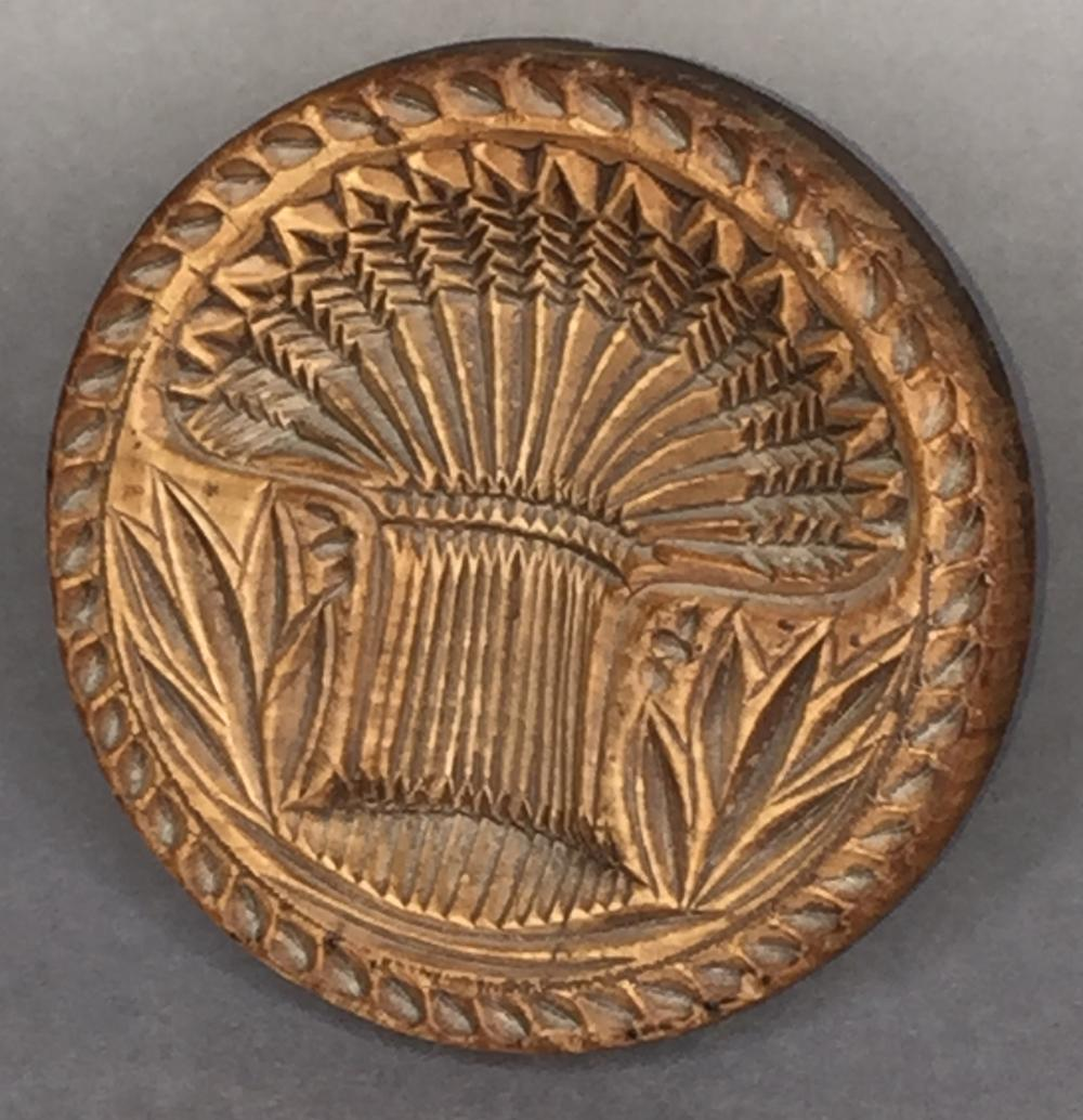 Round wheat sheath pattern wooden butter print