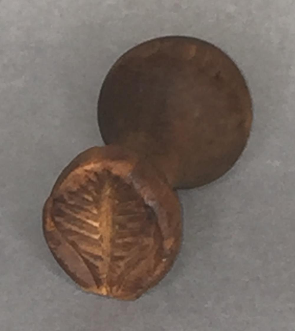 Small turned & carved wooden leaf shape stamp/print