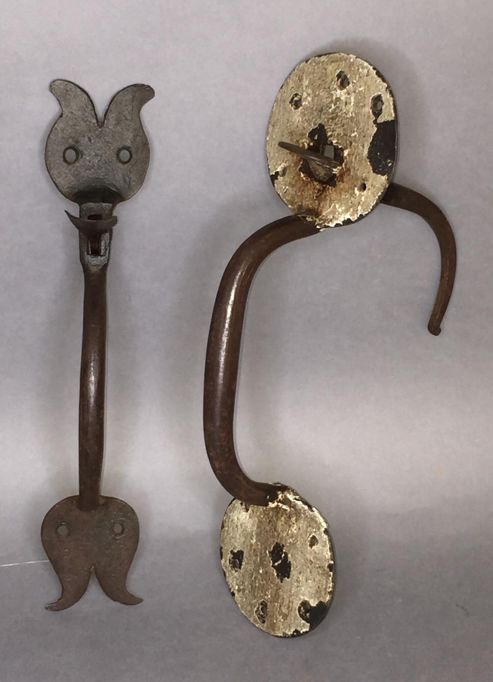 2 large hand wrought thumb latches