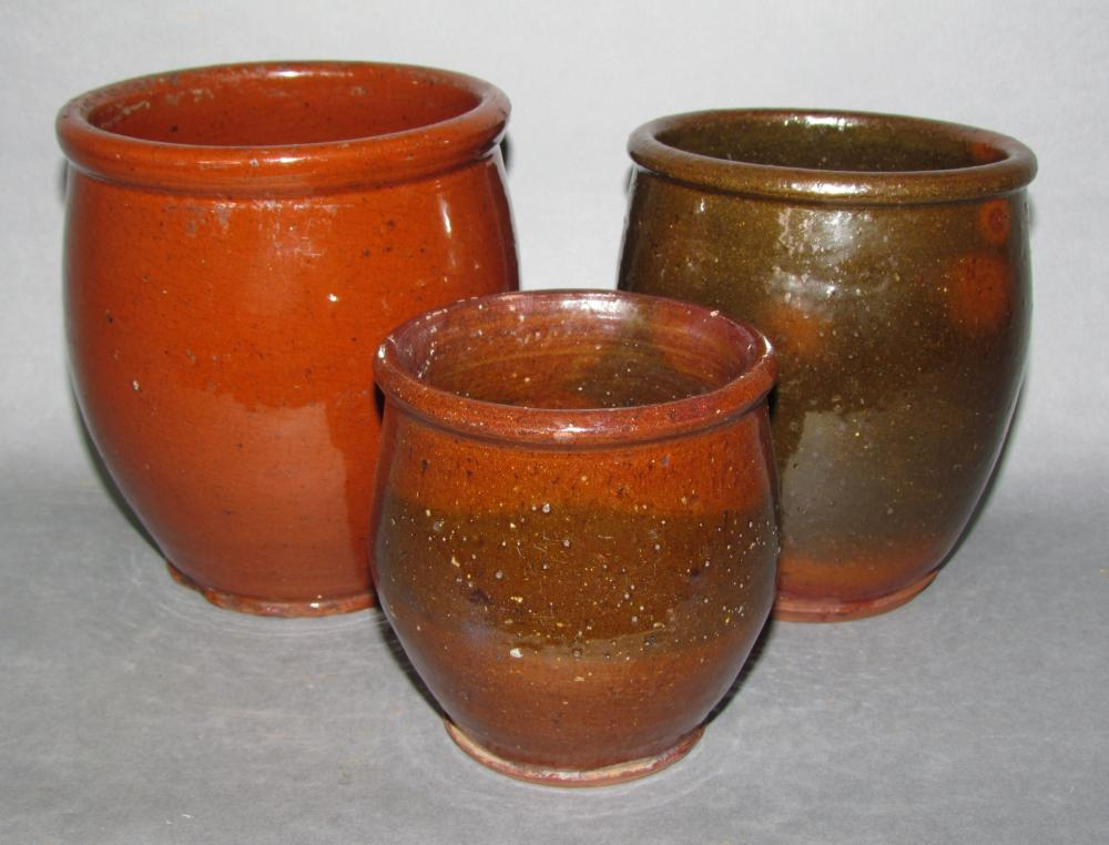 3 PA redware jelly jars