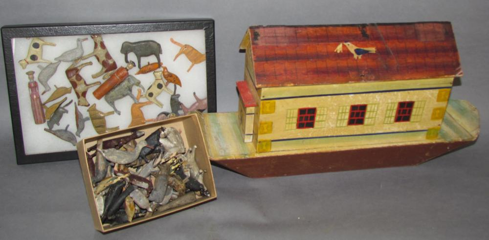 Fine German large painted Noah's Ark with large collection of carved figures