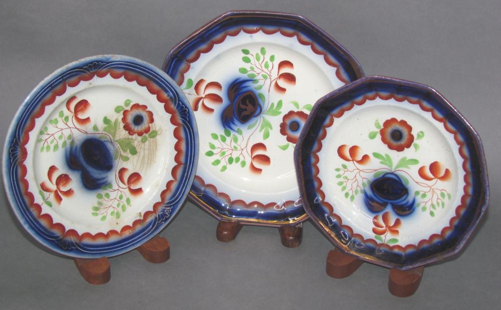 """3 """"Seeing Eye"""" pattern Gaudy Welsh plates"""