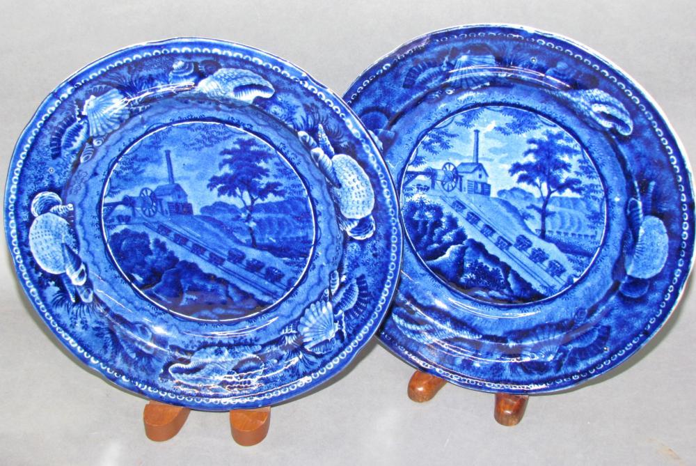 "Pair of Historic Blue ""Balto & Ohio Railroad"" transfer plates"