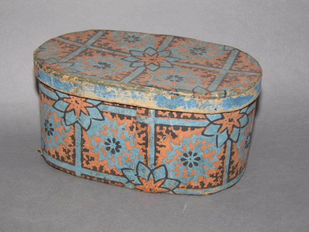 Fine oval lidded wallpaper covered box attributed to Lancaster Co., PA