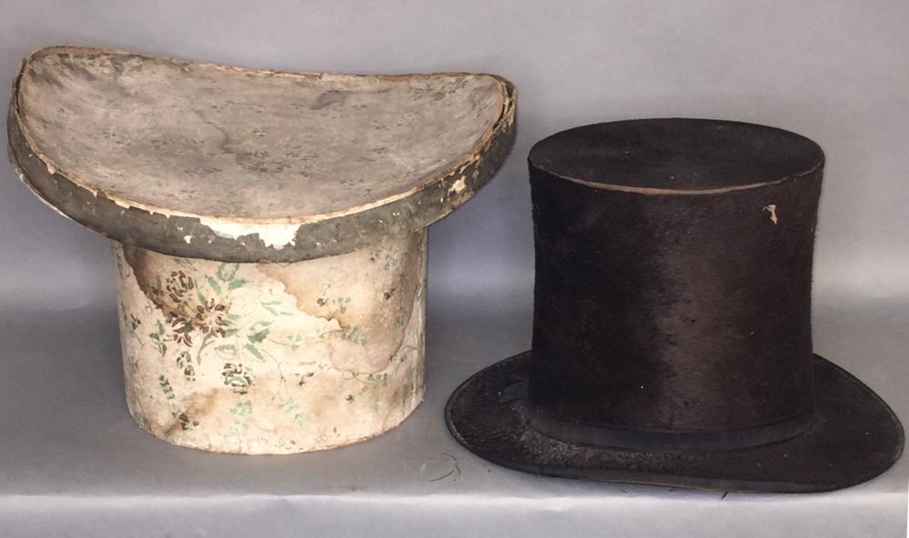 Beaver pelt stove pipe top hat in original wallpaper box