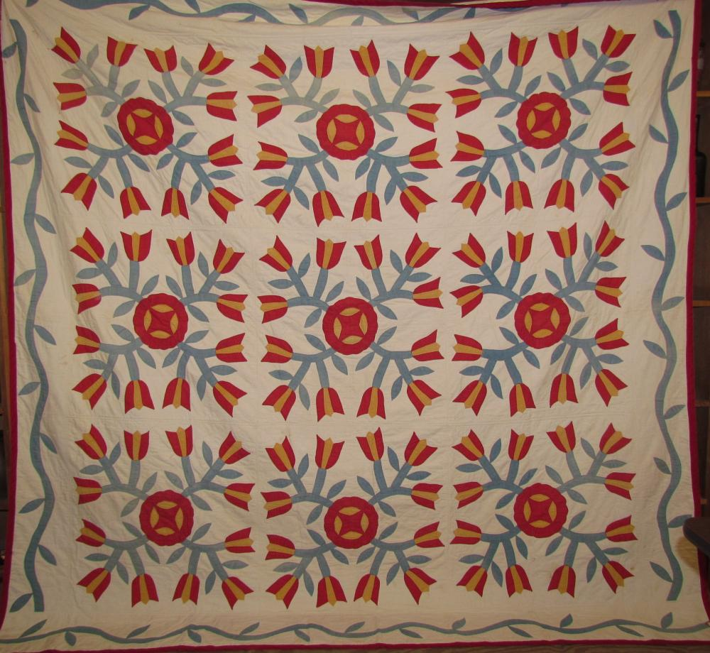Early Mennonite tulip appliqued quilt attributed to central PA
