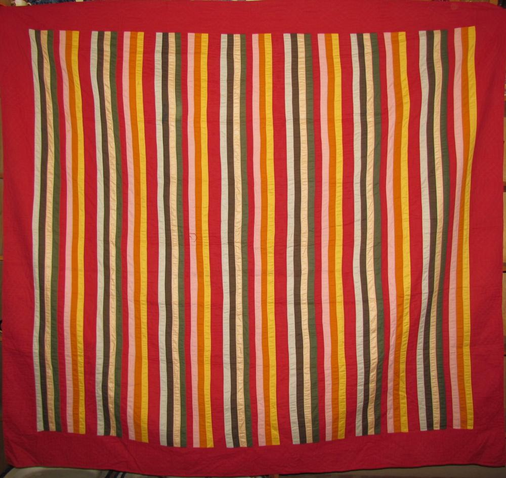 """Antique """"Joseph's Coat"""" or """"Rainbow Bars"""" pattern quilt"""