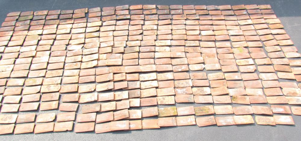 Group of redware roof tiles
