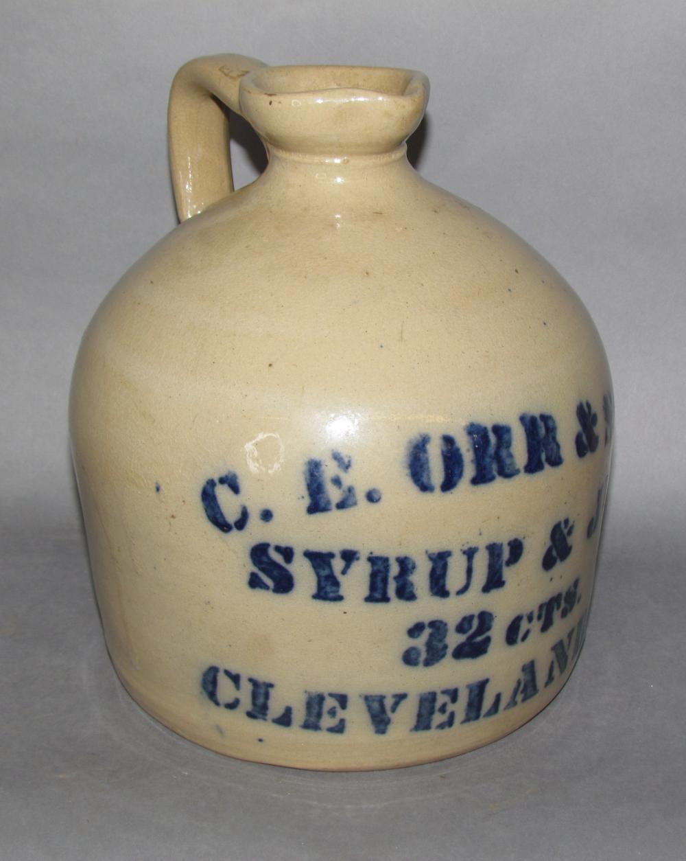 Cobalt decorated C E Orr & Son stoneware jug