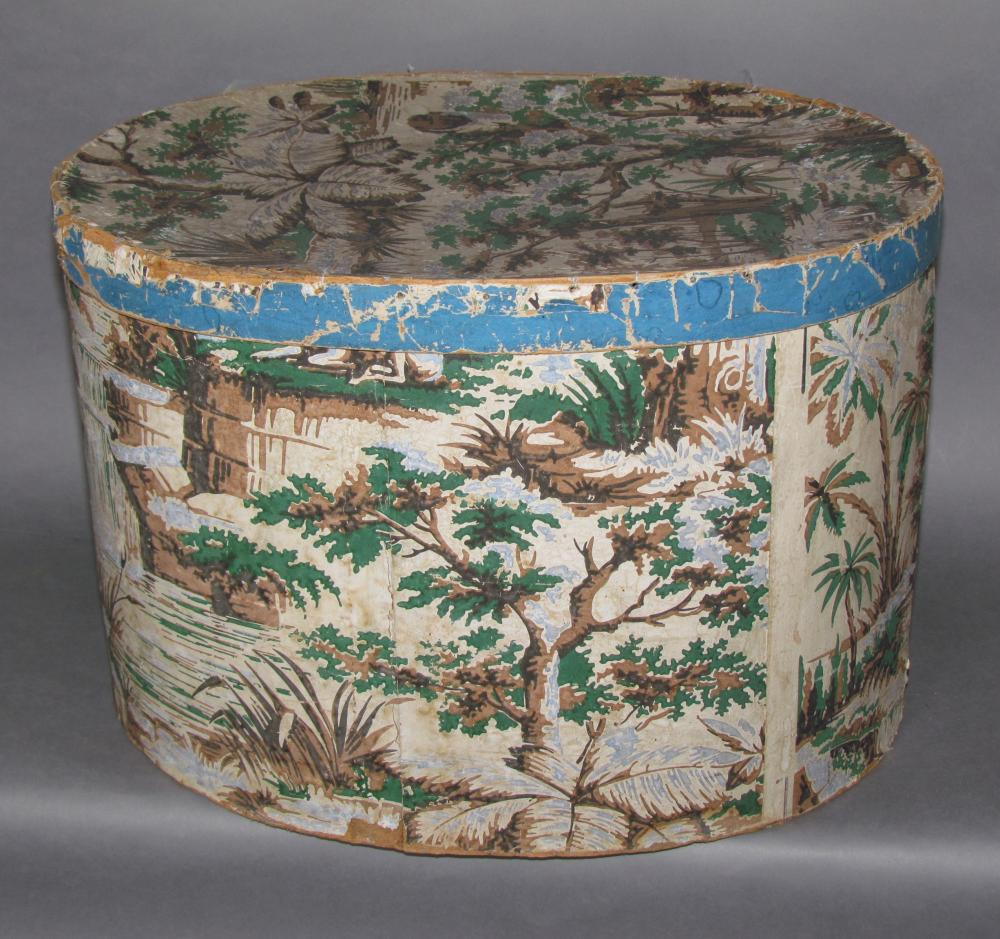 Large wallpaper covered oval hat box