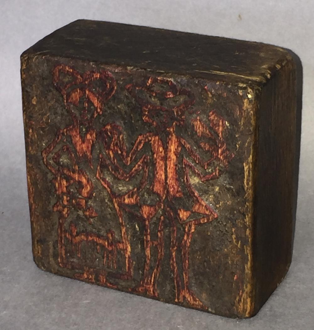 Figural carved print block