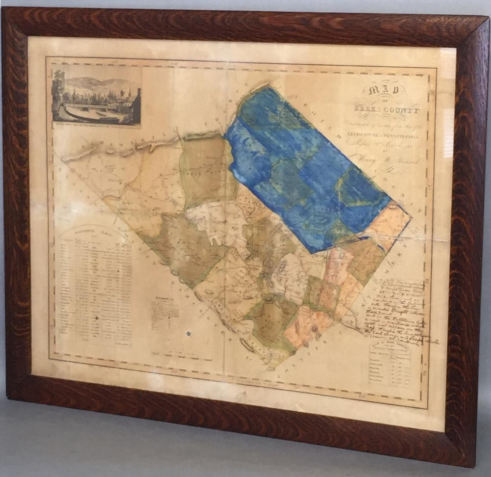 Framed & early color engraved map of Berks Co. by Henry M. Richard