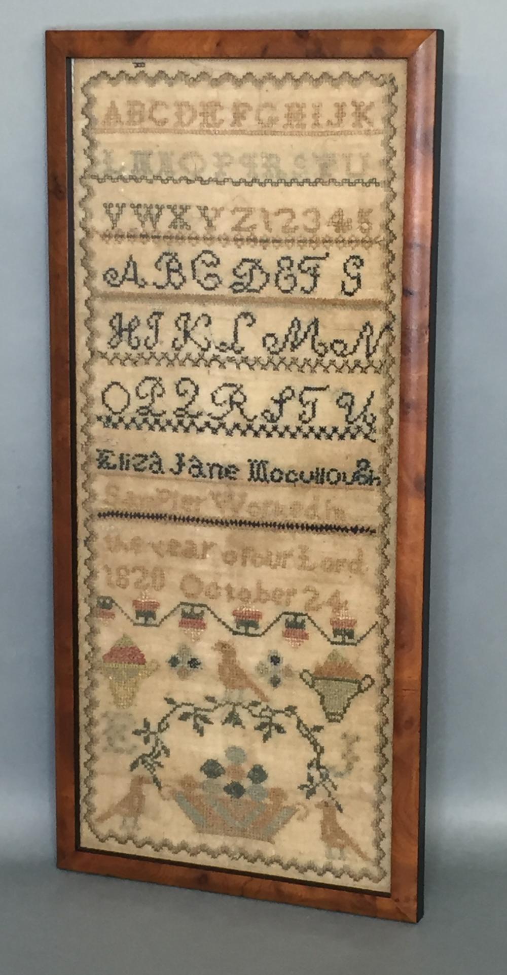 Framed sampler of Eliza Jane Mocullough