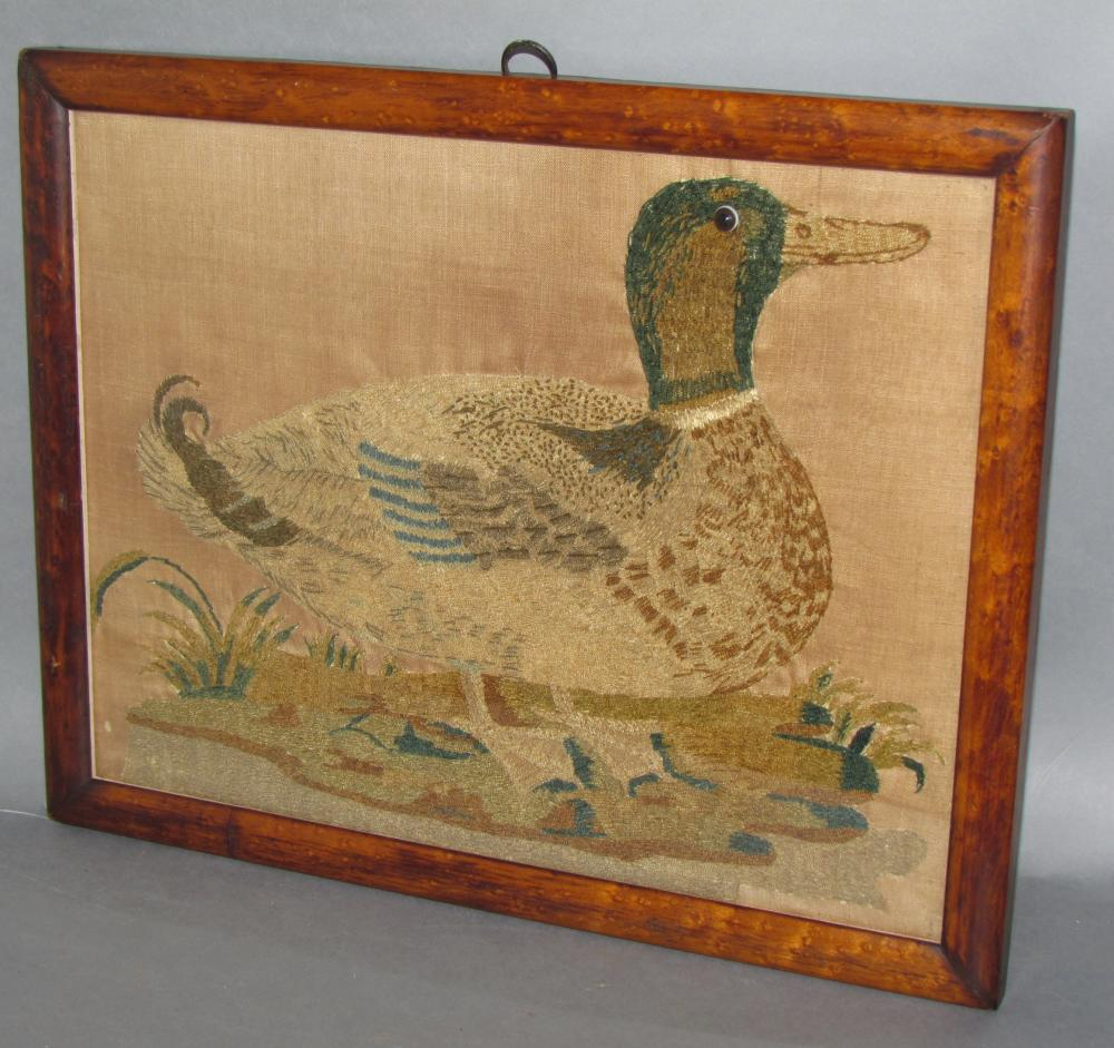 Framed duck needlework picture