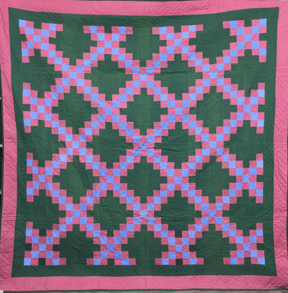 "Calico print cotton ""Irish Chain"" pattern quilt"