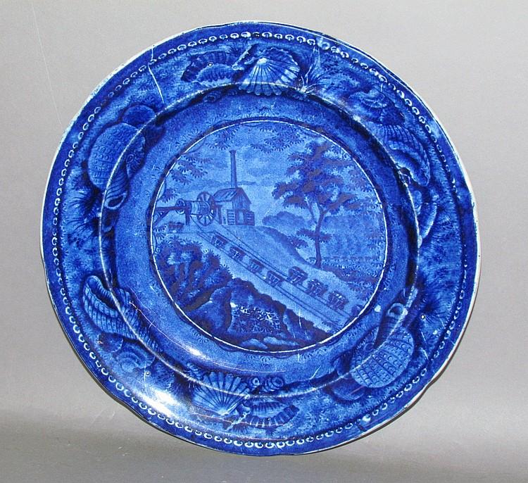 English earthenware Historic Blue transfer plate