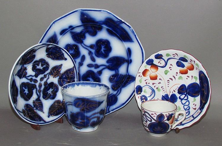 English earthenware Flow Blue & Gaudy Welsh