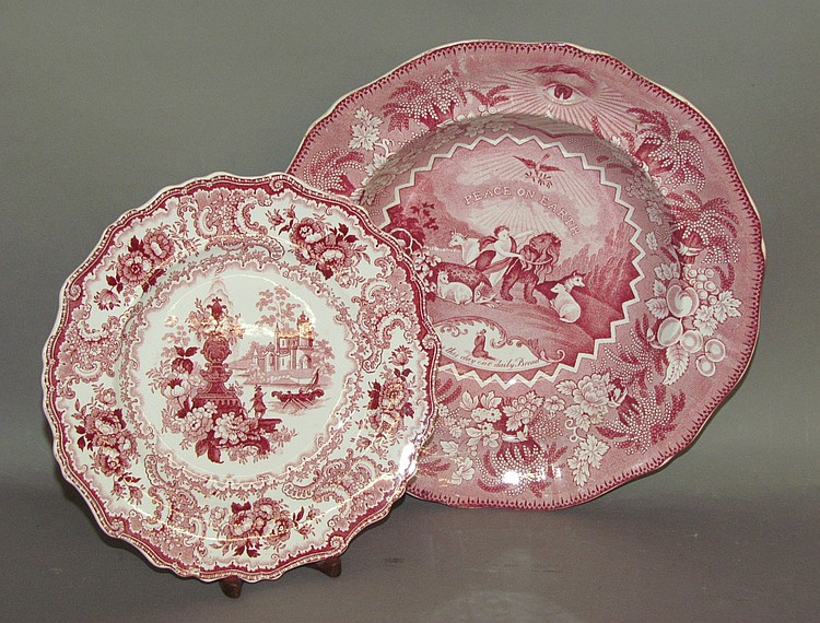 2 pieces of English earthenware pink transfer