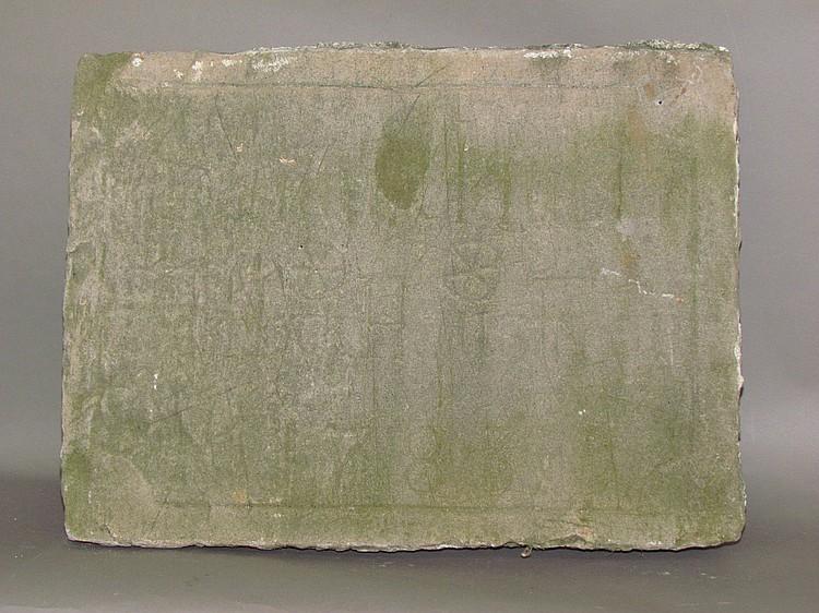 Engraved house date stone from Samuel Huber homestead