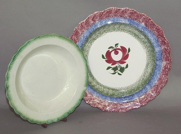 2 English earthenware plates