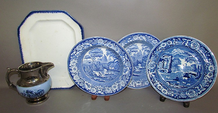 5 pieces of English Staffordshire earthenware