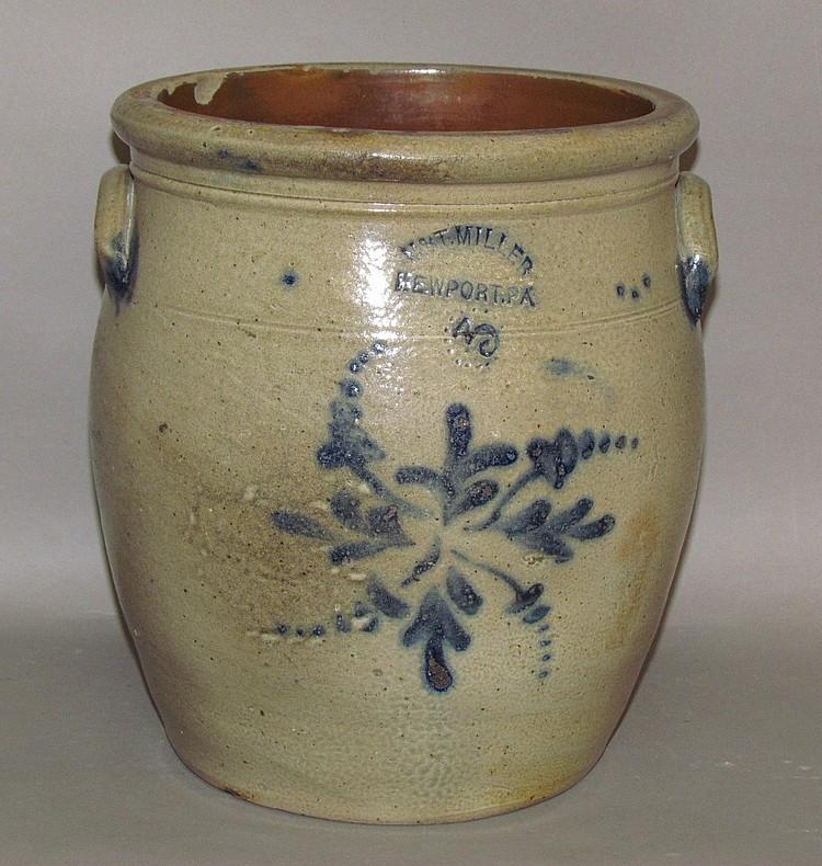 3 gallon cobalt decorated M&T; Miller stoneware crock