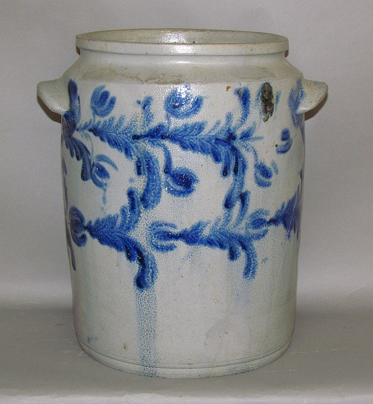 4 gallon cobalt decorated stoneware jar