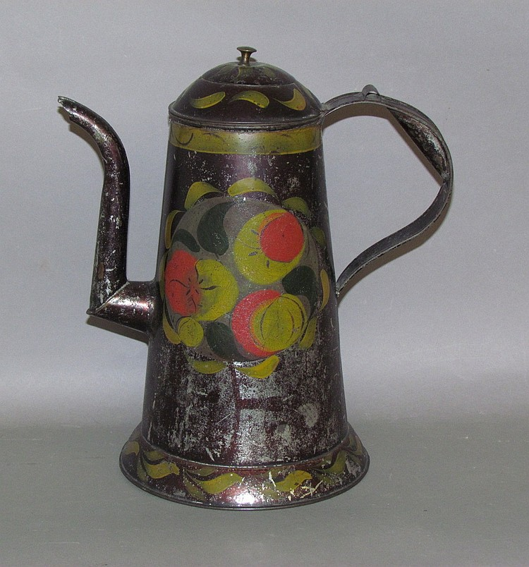 Domed top toleware coffee pot