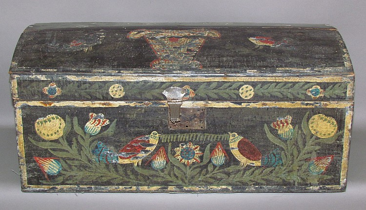 Polychrome paint decorated arch top trunk