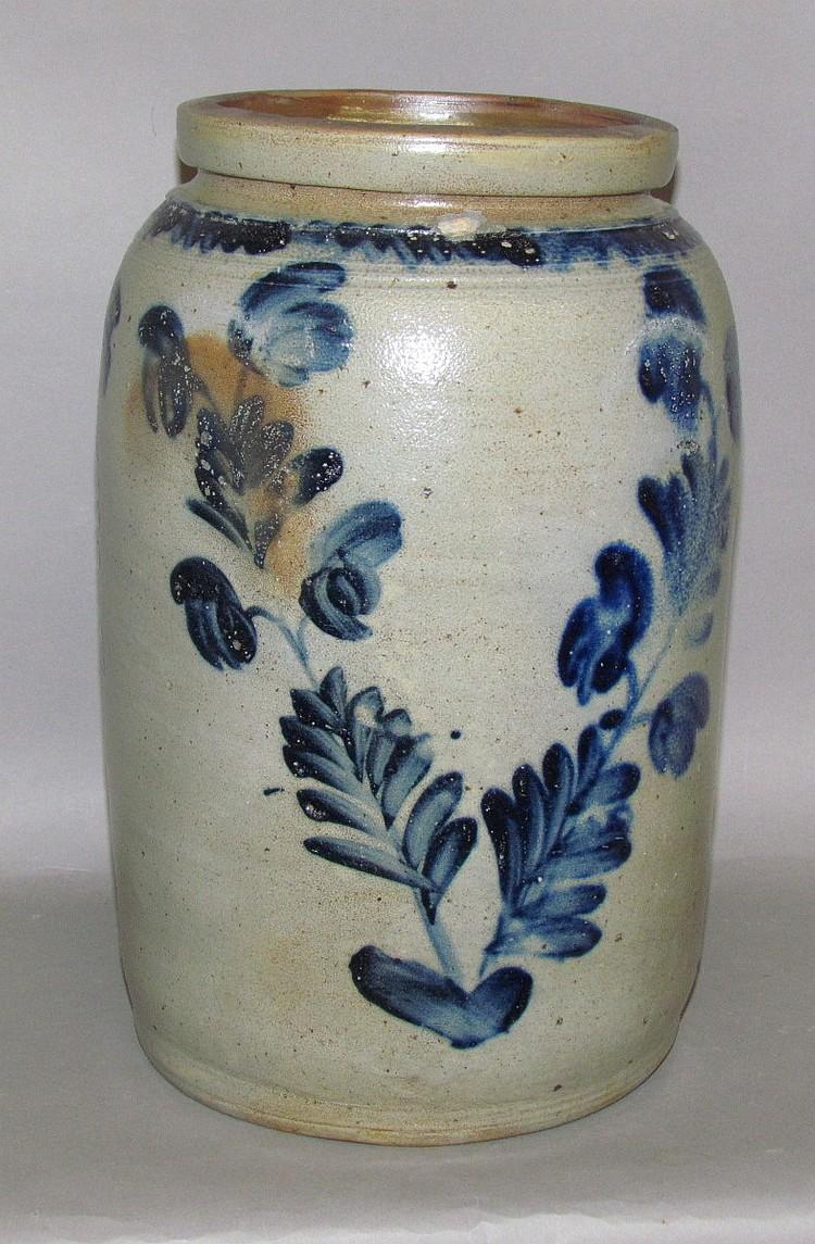 Fine 2 gallon cobalt decorated stoneware jar