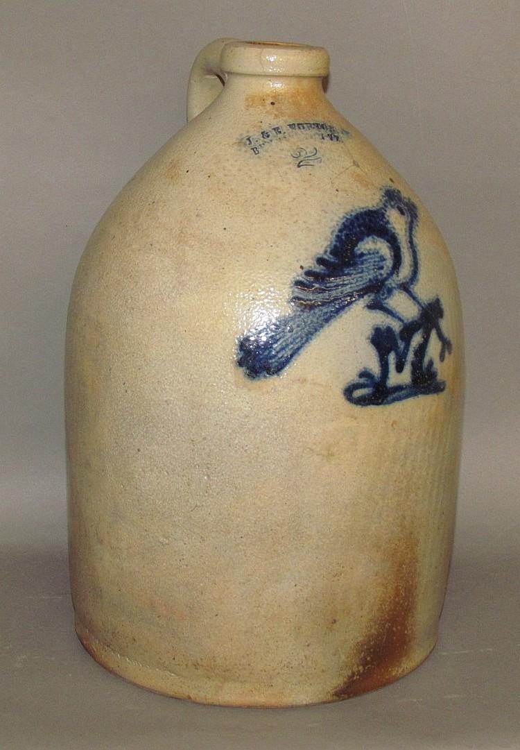 2 gallon cobalt decorated J&E; Norton stoneware jug