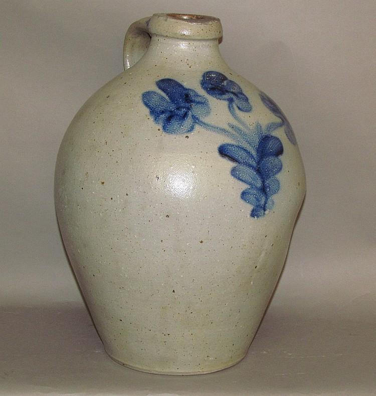 4 gallon cobalt decorated stoneware jug