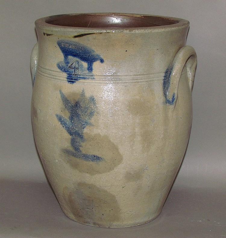 4 gallon cobalt decorated PH Smith stoneware crock