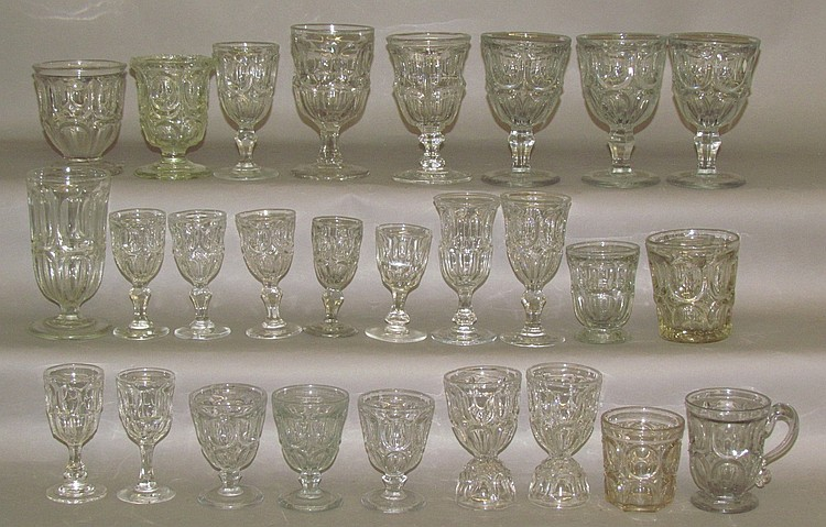 Group of uncolored early American pressed glass
