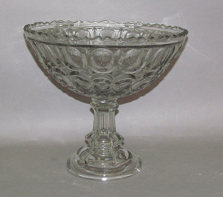 Early American pressed glass Excelsior compote