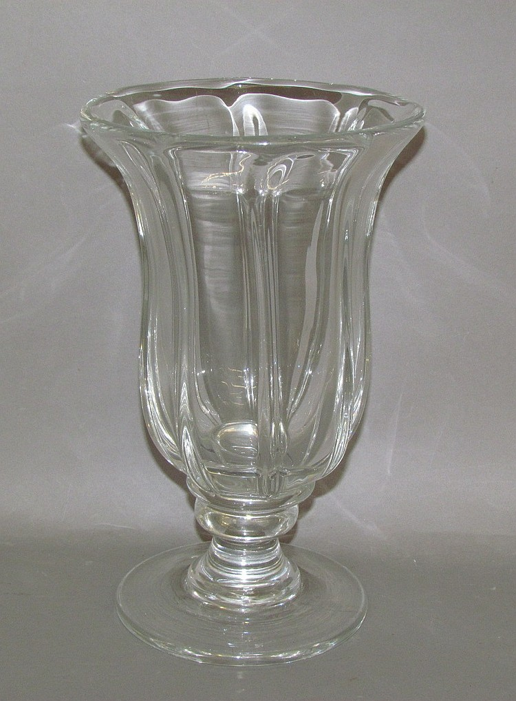 Blown Pittsburgh uncolored pillar mold glass vase