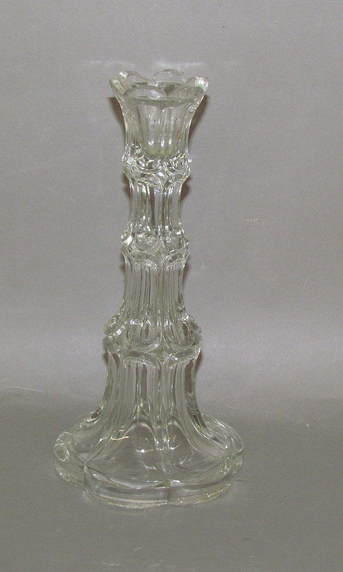 Early American pressed glass Excelsior candlestick