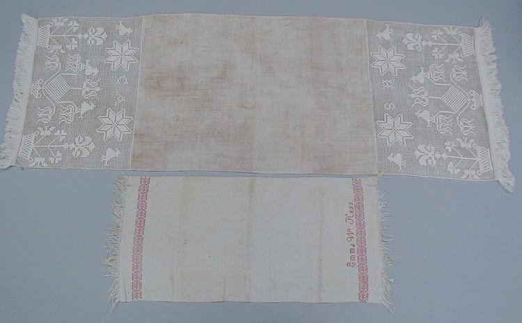 2 homespun linen textiles