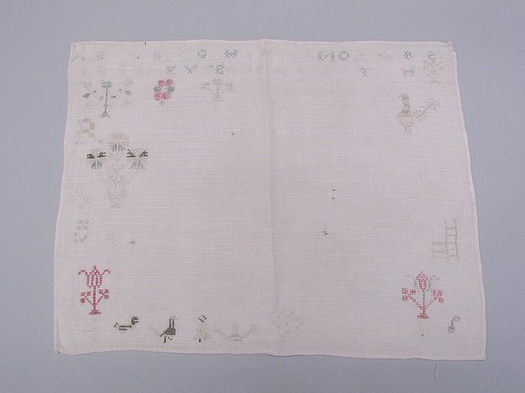 Small homespun linen sampler